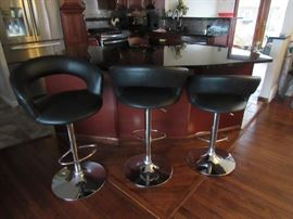 Leather and Chrome Swivel Counter Stools