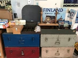 Four wonderfully maintained military trunks.  Sorry, but the family wanted two of these, so there are only two left, but they are both really nice, and I have locks if you need them.  Also, the tray on the right is for sale.