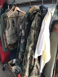 Hunting vests, BDU's, fatigues, and cold weather hunting jacket and trousers.  One vest is REALLY unique, with all sorts of first aid items in and on it.