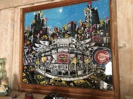 Chicago, Wrigley Field whimsical painting on glass.  Original artwork, signed by artist