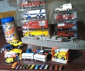 Hand made 1/25 scale model fire  and police apparatus.  Small Tonka trucks, tootsie toy midgets.