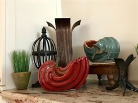 Faux Greenery, Pottery & Primitive Look Decor