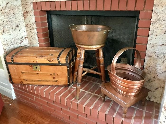Vintage Trunk (TLC), Antique Stool, Copper Pot & Basket
