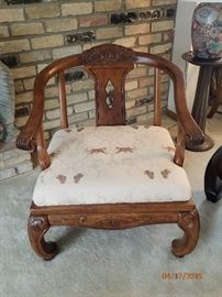 WOOD SIDE CHAIR WITH ARMS AND CARVING WITH ASIAN FLAIR LEGS