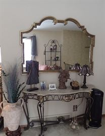 STATEMENT PIECE MIRROR AND IRON & MARBLE ENTRY TABLE - LARGE FLOOR VASE - STAINED GLASS LAMP - DECOR
