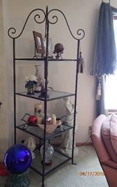 LARGE SQ ETAGERE WITH GLASS SHELVES - GAZING BALL WITH STAND