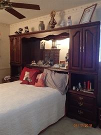 CHERRY STORAGE HEADBOARD & MATTRESS