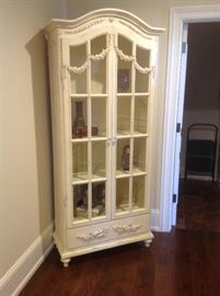 Ornate white bookcase measures 34 w x 16 d x 84 h  - $350