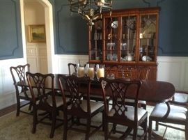 Hinkel Harris table with leaf, 8 chairs and matching China Cabinet.  Table, chairs, leaf and pads $3000.  China cabinet $1800.    Original cost $16,000.