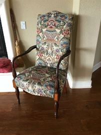 18TH C. HIGH BACK ARMCHAIR. GORGEOUS UPHOLSTERY.