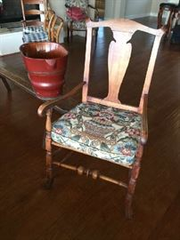 "ORIGINAL QUEEN ANNE ARMCHAIR WITH ""SPANISH"" FOOT. GEORGE WASHINGTON HAD ONE !"