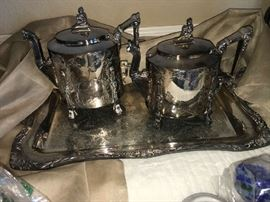 ANTIQUE VICTORIAN FIGURAL SILVERPLATE COFFEEPOT & TEAPOT. ( RESILVERED)