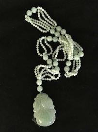 Chinese Jade Necklace and Pendant 19th c.