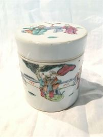 19th c, Famille Rose Tea Canister