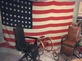 Giant 48 Star Flag, 2 Antique Medical Chairs, 1900's Velocipede