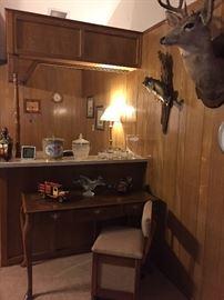 Library desk, desk chair with storage under the seat, barware