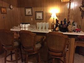 Bar stools, barware, liquor bottles