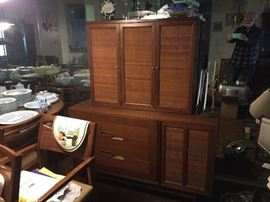 MCM American of Martinsville China cabinet. Two pieces.