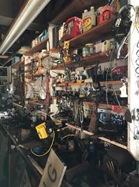 Tons of misc tools, old car dealer tags, etc