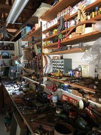 Vintage metal no smoking sign, old gun vanish in original boxes, TOOLS!