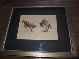 unsigned pen & ink sketch attributed to listed artist Edward Borein
