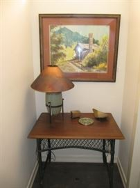 Original art and nice lamp with copper shade