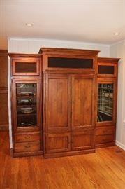 E ntertainment center with bookcases on side--Ethan Allen
