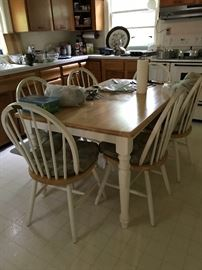 Farm style kitchen table with 6 chairs