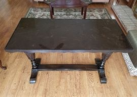 "Vintage, solid wood, library table with carved trestle base and marble top.  49"" wide, 24"" deep, 30"" tall."
