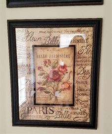 "Pair of French style rose prints in black frames.  19"" x 23"" each."