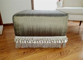 "Large ottoman, solid wood frame, upholstered in sage green  silk fabric with tiny gold dots, tasseled and  fringed bottom.   25"" square, 18"" high."
