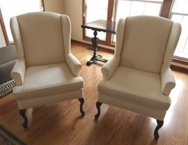 Pair of very nice wingback chairs by Pembrook Furniture, NC.  Off-white, shell motif fabric.