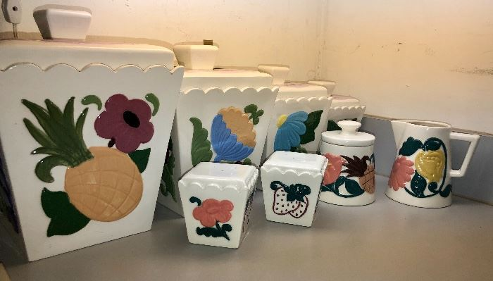 Great Mid Century Canister set with cream and sugar