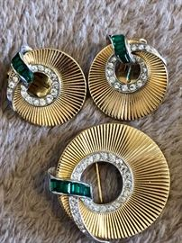 Vintage Boucher clip on earrings with matching pin