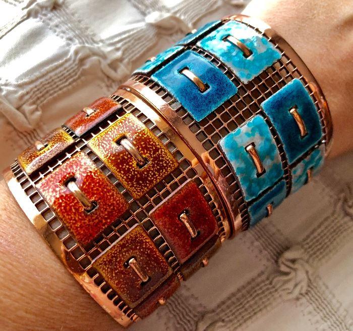 These vintage bracelets, enamel on copper are stunning