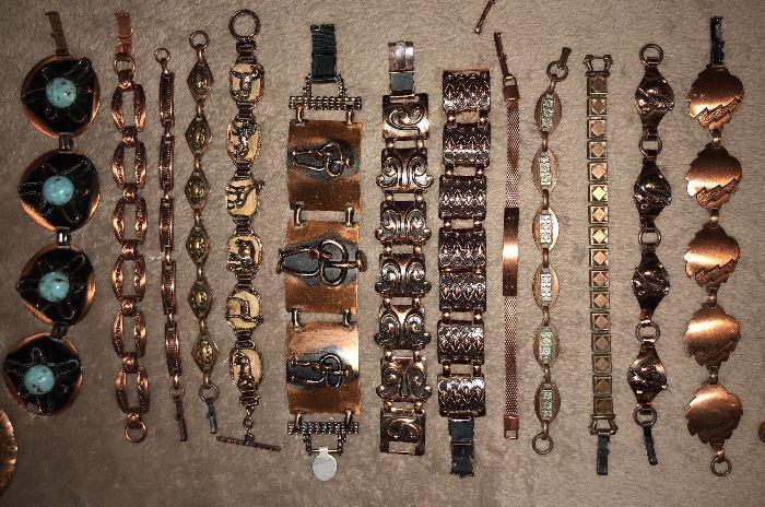 Tons of vintage copper jewelry - lots of Renoir Matisse