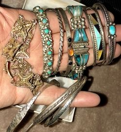 Tons of incredible sterling and stone bracelets - Many from Mexico