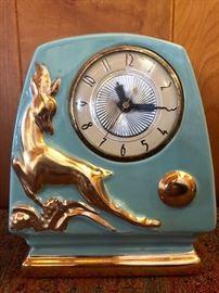 MCM clock with gold gilt deer