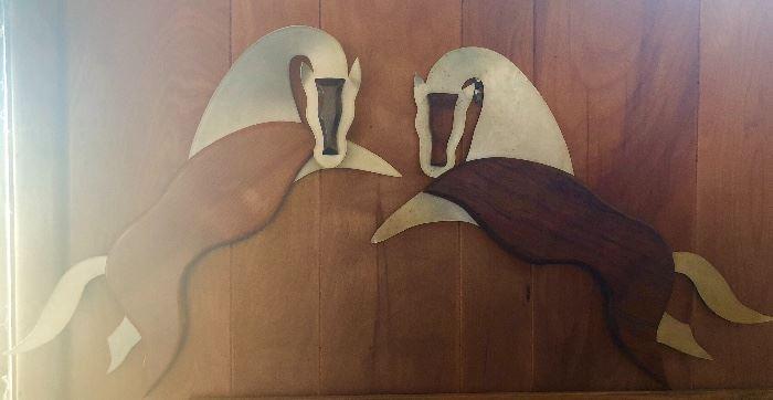 Wall hangings, MCM Brushed metal and wood (teak)