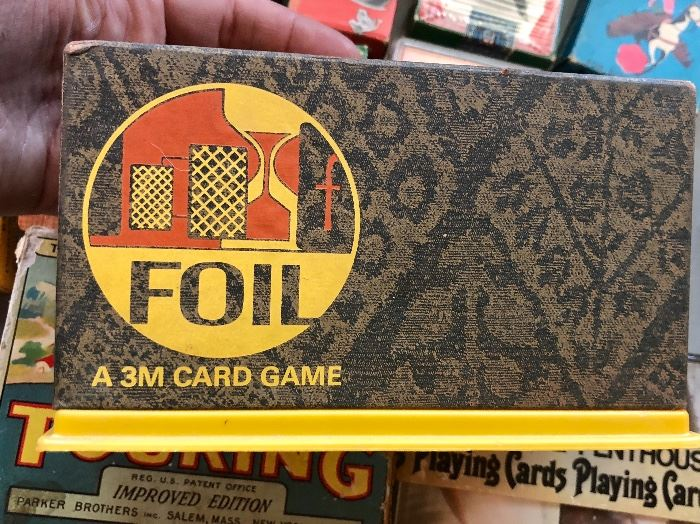 Late 1960s Foil card game in butter box