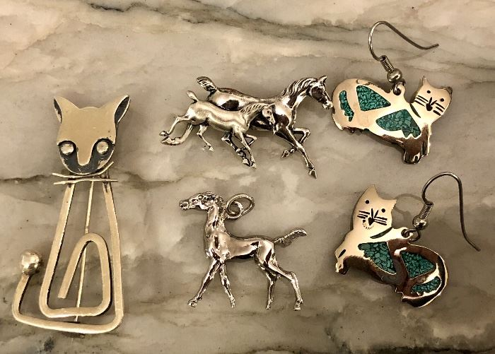 Sterling pins and earrings galore!