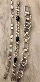 Big chunky silver bracelets