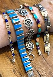Stunning collection of sterling bracelets, cuffs, earrings and rings...the turquoise one above is j comes