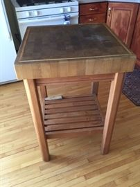 Wooden Butcher Block Kitchen Island.