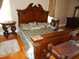 King size bed marble top nightstands