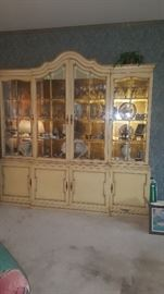 Large China Cabinet Filled with Vintage Crystal, Glass, cups & Saucers