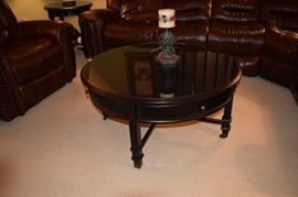 """42"""" Round Black Center Table with 3 Drawers"""