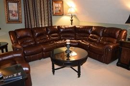 """Leather Sectional Sofa 6 Piece with 2 Recliners 106"""" One Side 70"""" Other Side"""