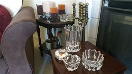 Orrefors crystal and candles and mahogany side table.