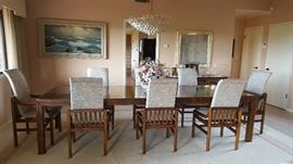 """HENREDON Scene One Campaign Style 121 Mirror Top Dining Table with 2 LEAF TABLE WITH 8 CHAIRS                                     Height 29.25"""" Width 81"""" Depth 41"""" Leaves 20"""" Wide. Excellent Condition"""
